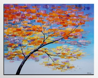 Abstract Art, Large Painting, Tree Painting, Canvas Art, Oil Painting, Wall Art, Canvas Painting, Abstract Painting, Large Art, Framed Art