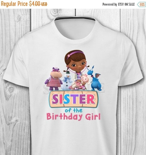 Digital file doc mcstuffins sister of the by cuteinvitation1 for Doc mcstuffins birthday girl shirt