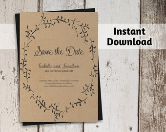 Printable Save the Date Card Template - Rustic Foliage Winter Wreath on Kraft Paper | Editable PDF Instant Download | 4x6 or 5x7
