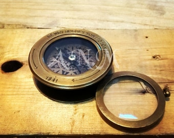 Nautical Brass Compass Flip Out Magnifying Glass Vintage Magnifier Collectible