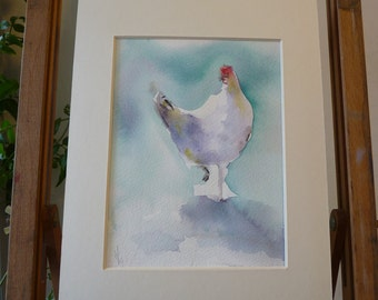 original Watercolour: the White Hen