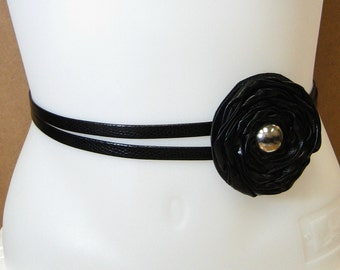 Leather Rosette Belt with Silver Button in Black