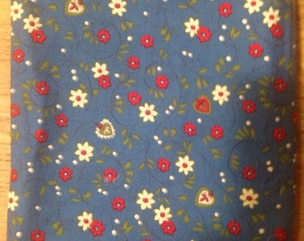 """Turquoise Blue Calico with red and white flowers. 5 feet 7"""""""