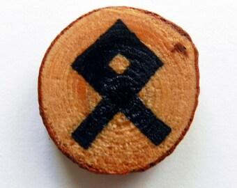 """Handmade Pine Wood  Chip """"Property"""" Rune Fridge Magnet, Christmas Gift, Gift for Her, Handmade Gift, Handcrafted Gift"""