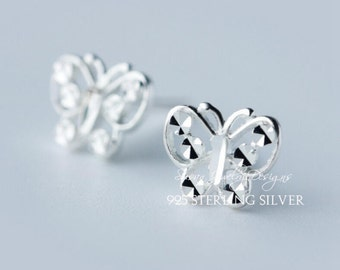butterfly and flowers stud earrings,925 Sterling  silver stud earrings, Compact,Fresh,Literature and art