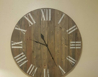 "36"" Weathered wood wall clock made from reclaimed, repurposed wood.  Farmhouse, shabby chic, rustic, primitive decor."