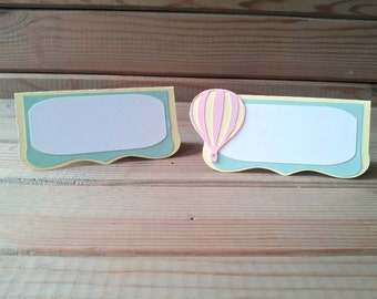 Hot Air Balloon Place Cards / Food Tents - up up & away party - hot air balloon decorations - party supplies
