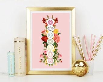 Floral Chakras Art Print - Home Decor - Hippie Art Print -  Art Print - Esoteric Print- Spiritual Print- Supernatural