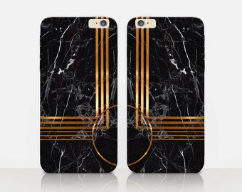Printed Gold Black Marble Phone Case For-iPhone 8, 8 Plus, X, iPhone 7 Plus, 7, SE, 5, 6S Plus, 6S, 6 Plus, Samsung S8, S8 Plus, S7, S7 Edge