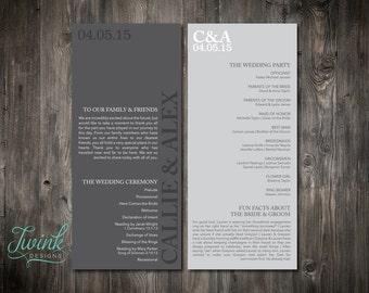 Printable Wedding Program | Gray Wedding Program | Simple Wedding Program | Modern Wedding Program