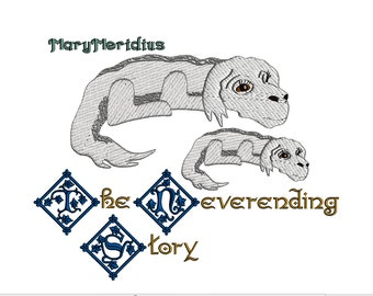 Neverending Story~Falkor~Luck Dragon~Fantasy~Fantasia~Movie~80s awesomeness~muppet~puppet~MaryMeridius~Embroidery design download~Super CUTE