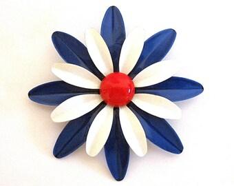 Vintage Enamel Flower Brooch Red White Blue Americana Pin