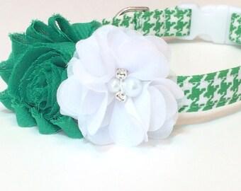 St. Patrick's Dog Collar - Green Shabby Chic Flower Dog Collar - Irish Girl Dog Collar - Matching Leash Available