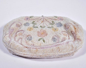 Vintage Clutch Evening Bag, Italian Beads, Handmade Sarne Import Exclusive, with Original Mirror, Circa 1940s