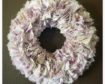 "12"" Patterned Lavender Fabric Wreath"