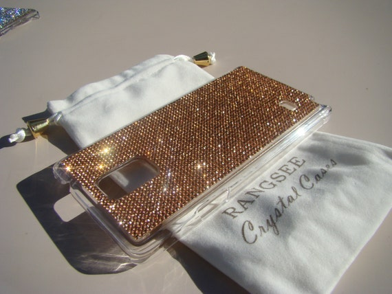 Galaxy Note 4 Case Rose Gold Diamond Crystals on Clear Transparent Case. Velvet/Silk Pouch Bag Included, Genuine Rangsee Crystal Cases.