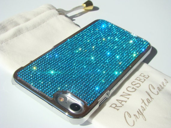 iPhone 7 Case Aquamarine Blue Rhinstons Crystals on iPhone 7 Silver Chrome Case. Velvet/Silk Pouch Included, Genuine Rangsee Crystal Cases.