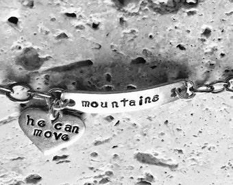 Charm bracelet, personalized bracelets, He can move mountains bracelet, hand stamped bracelet, christian jewelry, inspirational bracelet, cu