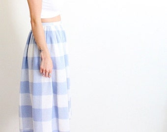 SALE Vintage 1950s Mid Length Plaid Skirt / Blue & White / High Waisted / 50s Clothing / Baby Blue