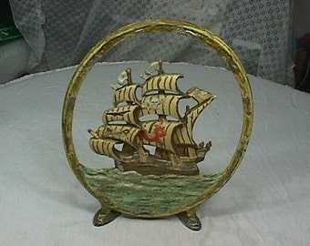 Antique Cast Metal Pirate Ship Firescreen for your Fire Place in Great Condition