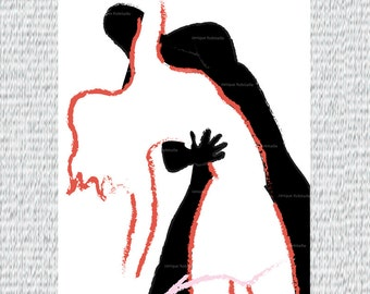 Illustration dancers couple lovers poster dance wall art print home decor love passion display contemporary