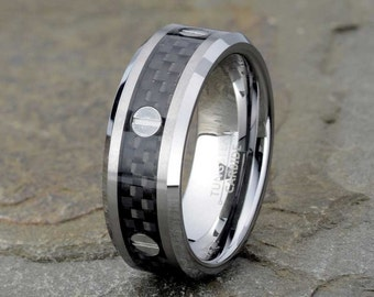 Carbon Fiber Tungsten Wedding Band, Mens Wedding Ring, Black Carbon Fiber Ring, 8mm Mens Ring, Anniversary, Gift, Personalized Ring