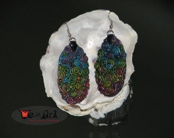 Handmade  Abstract Pattern Rainbow Colored Swirls Polymer Clay  Earring