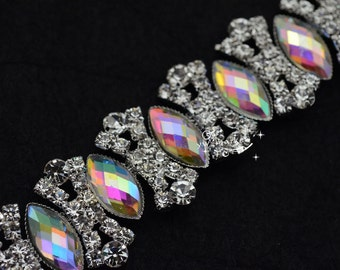 1 Meter costume crystal rhinestone applique trims silver A2242