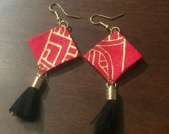 West Africa-Handcrafted Fabric Earrings- Authentic West African Cotton-Unique Statement Piece-West African Fabric Earrings