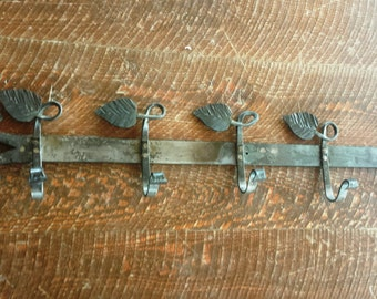 Hand Hammered Leaf Coat/Hat Rack with Eight Leaf Hooks