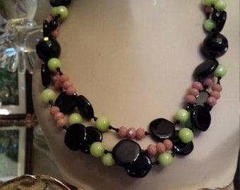 Three strand black onyx, jade and artist cut glass designer necklace
