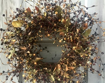 Primitive Fall Wreath with Burgundy, Black and Tan Pip Berries with Leaves, Pip Berry Wreath, Rustic Wreath, Large Candle Ring, Centerpiece