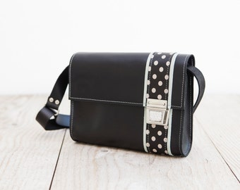 Leather bag, Crossbody bag in black