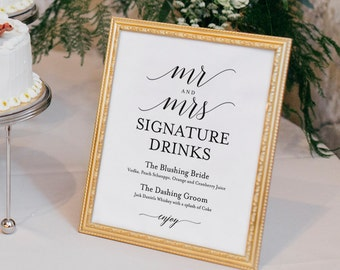 Signature Drinks Printable, Signature Drinks Sign, Signature Cocktails, Bar Sign, Wedding Printable, Sign, PDF Instant Download #BPB310_36