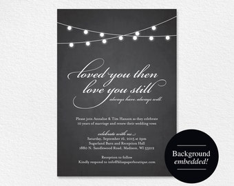 Vow Renewal Invitation, Vow Renewal Printable, Wedding Vow Renewal, Chalkboard Invitation, String Lights, PDF Instant Download #BPB188_68B