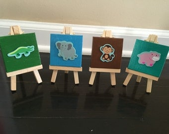 Mini canvases jungle themed