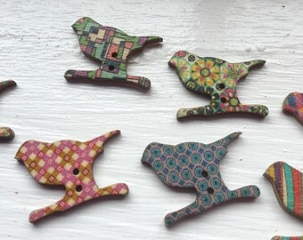 Mixed Coloured Birds Shape Wooden Buttons - Sewing  Events Birds Wood Scrapbooking Embellishment