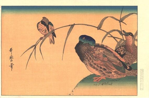 "Japanese Ukiyo-e Woodblock print, Utamaro, ""Mallards and a Kingfisher"""