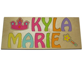 Little Princess Personalized Wooden Two Name Puzzles Princess & Crown V1035