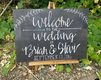 Custom chalkboard inspired modern calligraphy wedding welcome sign