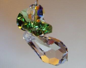 Swarovski Crystal Christmas Angel handmade ornament, light green wings.