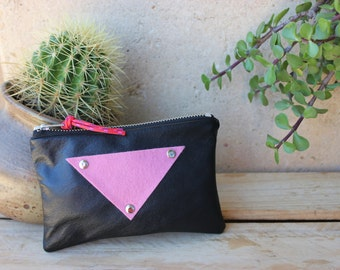 Leather and felt purse