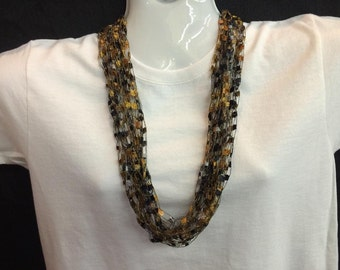 Black and brown crocheted ribbon necklace #82