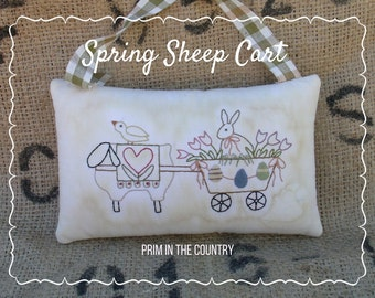 Spring Sheep Cart Stitchery Pattern