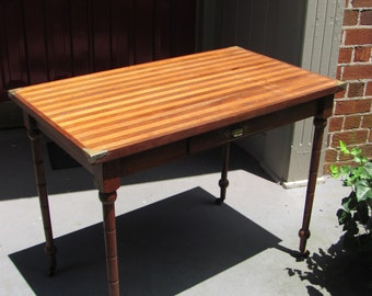 Antique Regency Desk With Multiple Inlaid Strip Top