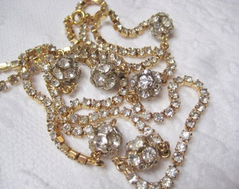 Vintage 34 inch gold rhinestone chain disco ball necklace FREE SHIPPING