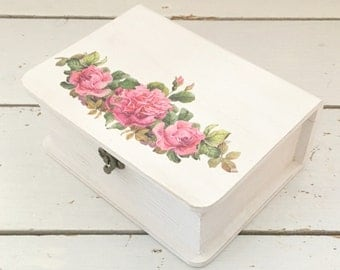 Pink Floral Book Style Box, Storage Box, Make up Box, Jewellery Box, Wooden Box, Jewelry Box, Bathroom Storage, Mother's Day Gift, Mothers
