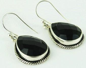 925 Silver Earrings - Dainty Wire Earrings - Black Onyx Earrings - Semiprecious Earrings - Boho Silver Earrings - Handcrafted Earrings