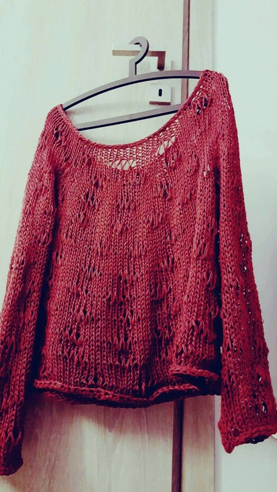 Handmade loose knitted oversized cotton or woolen sweater / jumper for every season. Available in many colors and in two yarn types.