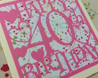40th Birthday Hearts Paper Cutting Template - Commercial Use